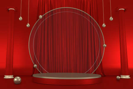 Red and Gold podium show in red color background.3D rendering