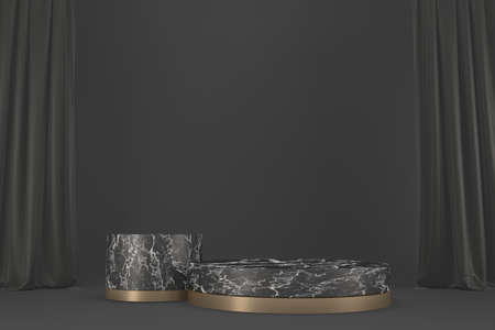 Modern granite,Victory podium show cosmetic product geometric. 3D rendering