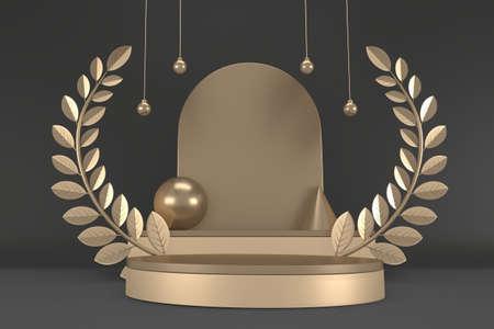 Black abstract design black podium show cosmetic products. 3D rendering 版權商用圖片