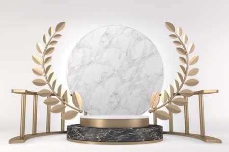 Modern black podium on white background. 3D rendering 版權商用圖片