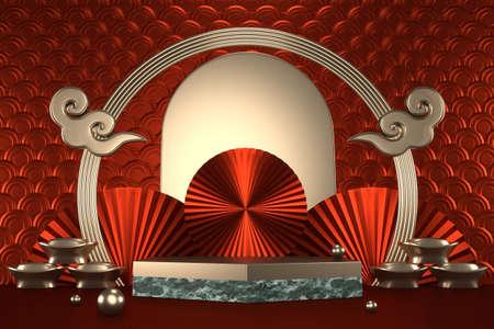 green granite hexagon design on red background minimal. 3D rendering