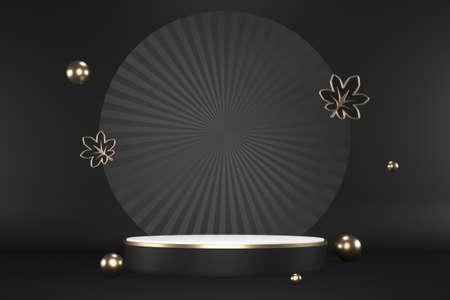 The granite hexagon gold design on black background minimal. 3D rendering 版權商用圖片