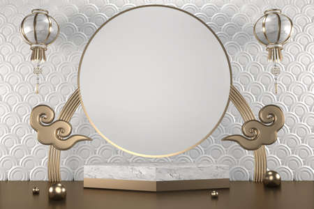 granite hexagon white design on white background minimal. 3D rendering