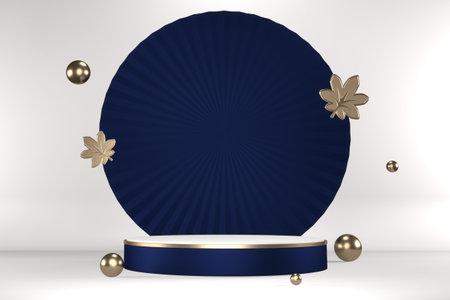 The granite hexagon gold design on dark blue background minimal. 3D rendering