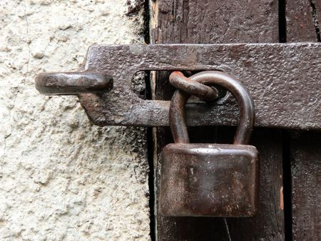 Closed old lock Stock Photo