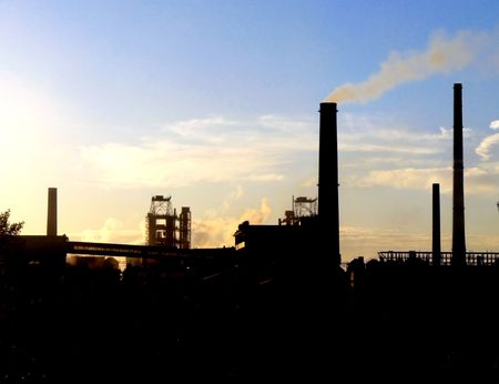 Silhouette of factory