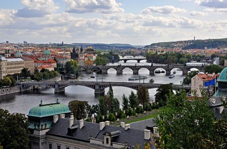 Lot of bridges in Prague on river of Vltava