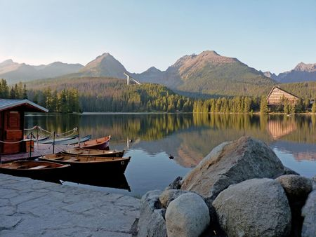 Hotel and harbour in The High Tatras near Strbske pleso  photo