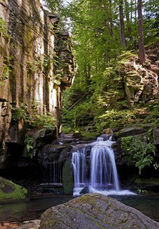 Satina water vallen in diepe bossen van het Beskydy gebergte Stockfoto