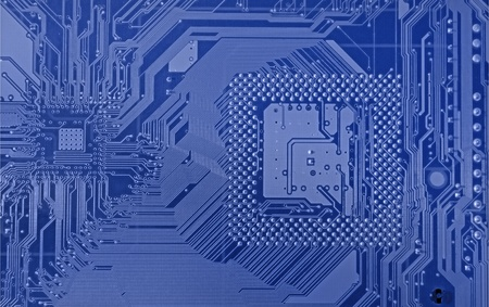 Detail of printed circuit board, old motherboard