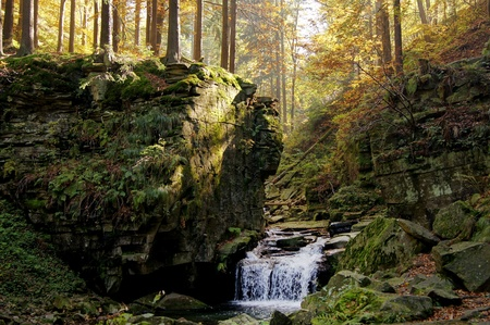 Satina waterfalls (Satinske vodopady) in deep forest of Beskydy Mountains photo