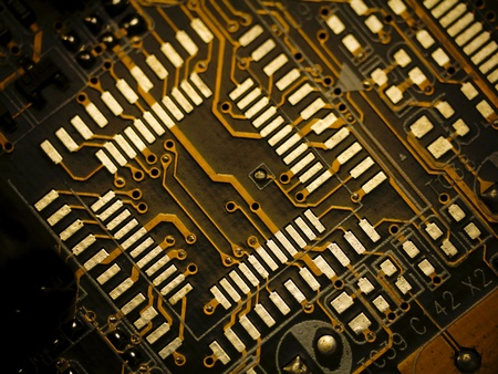 Detail of printed circuit board, old motherboard  photo