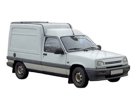 Isolated white delivery van on white background