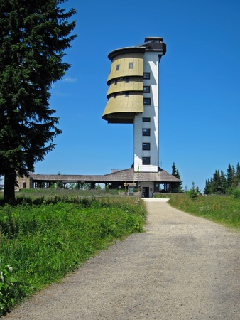 Polednik Watchtower in National Park Sumava in Czech Republic Stock Photo