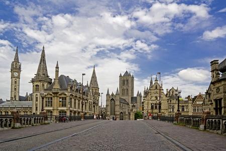 Cityscape van oude Gentse City in België Stockfoto