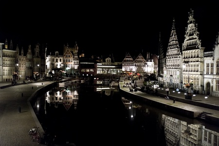 Night Cityscape of old Ghent City in Belgium photo