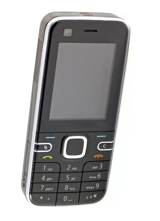 Kleine zwarte klassieke mobiele telefoon op witte achtergrond