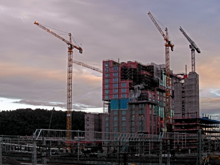 Construction of Commercial Buildings in Oslo in Norway 에디토리얼