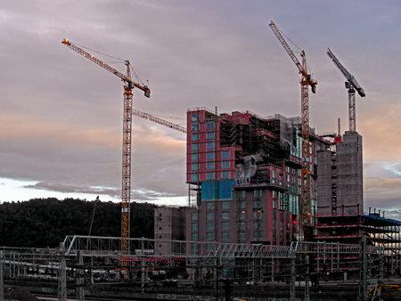 De bouw van commerciële gebouwen in Oslo in Noorwegen