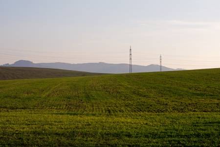 Landscape with electric poles during autumn sunset  photo