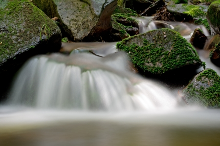 Small waterfalls of the river Divoka Orlice in Czech Republic photo