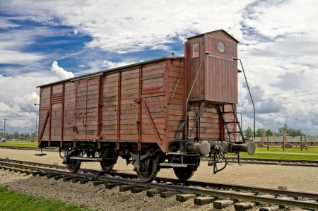 Old wagon in concentration camp in Auschwitz photo