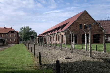 Block of houses in concentration camp in Auschwitz