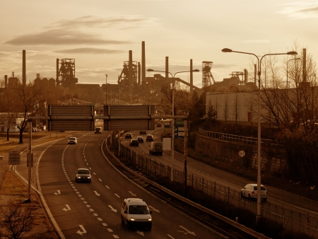 Highway and black coal mines in Ostrava, Czech Republic 스톡 콘텐츠