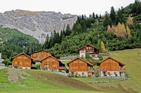 Wooden houses in Malbun in Lichtenstein, Europe photo