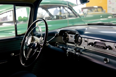 Stylish interior of old american car from 50s photo