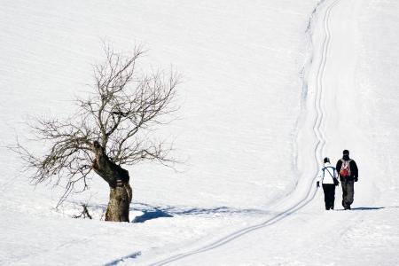 Een liefdevolle paar samen wandelen in de besneeuwde winter weer Stockfoto