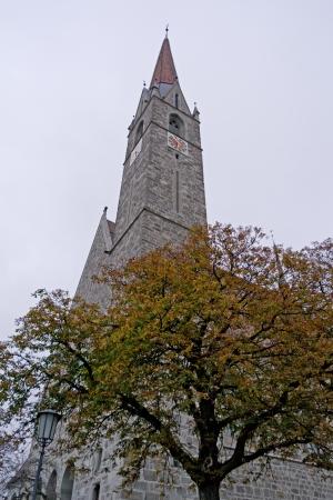 Old Sankt Laurentius Church in Schaan, Lichtenstein in Cold Autumn