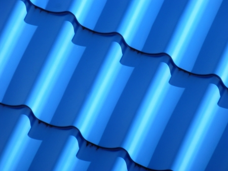 New blue roofing from stainless metal plate photo