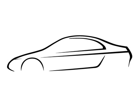 Ontwerp van een sportwagen op een witte achtergrond Stock Illustratie