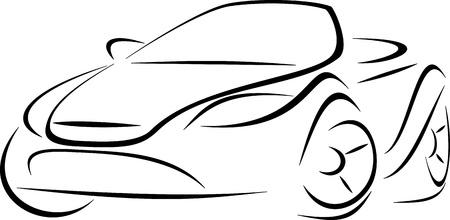 Diseño de un coche convertible deportes en el fondo blanco Ilustración de vector