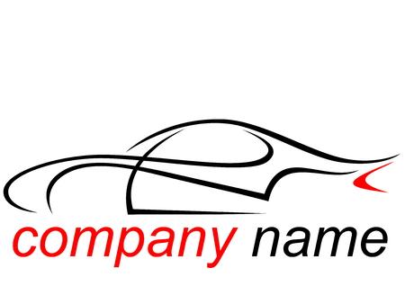 Zwarte en rode logo van een aerodynamische sportwagen Stock Illustratie