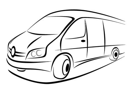 Ontwerp van een wit busje in sterke perspectief