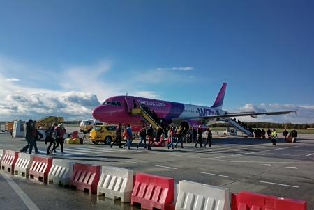 EINDHOVEN, NETHERLANDS - NOVEMBER 10  Wizzair Airbus A320 aircraft on the Eindhoven Airport in Netherlands  This aircraft is heading to Brno in Czech Republic, it leaves every Wednesday and Sunday
