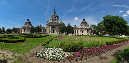 Garden in front of Szechenyi Bath in Budapest photo