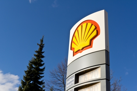 HAVIROV, CZECH REPUBLIC - JANUARY 10  Logo of Shell oil company on a petrol station located in Havirov, Czech Republic  The photo was taken on January 10, 2014    Editorial