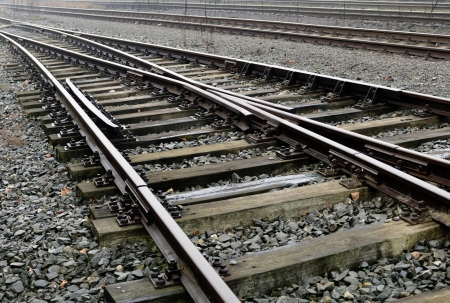 Railroad siding in a strong perspective view