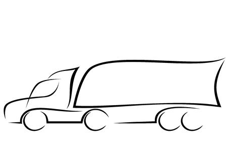 Lijntekeningen van een vrachtwagen met aanhanger