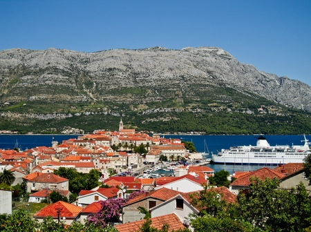 Korcula stad in Kroatië in zeer mooie zomerweer Stockfoto