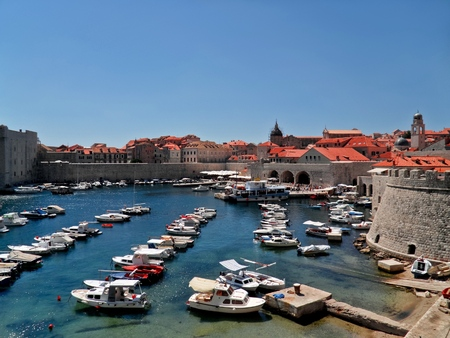 Harbour in Dubrovnik, Croatia during sunny summer day Banco de Imagens