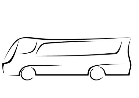Zwart pictogram van een toeristische luxe touringcar