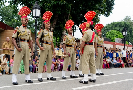 wagah: ATTARI, PUNJAB, INDIA - JULY 20  Military ceremony at India-Pakistan border in Attari on July 20, 2013 in Attari, Punjab, India  Editorial