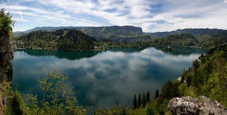 Panorama of beautiful Bled Lake in Slovenia, Europe photo