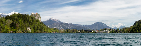 bled: Panorama of Bled Lake in Slovenia, Europe