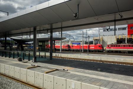 u bahn: GRAZ, AUSTRIA - APRIL 16: Construction site of new Graz Hauptbahnhof train station in Austria. The photo was taken on April 16, 2014