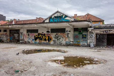 LJUBLJANA, SLOVENIA - APRIL 14: The view of the squat in Metelkova ulica (street) in Ljubljana, Slovenia on April 14, 2014. The place was squatted in 1993 and it is squat and cultural centre nowadays.